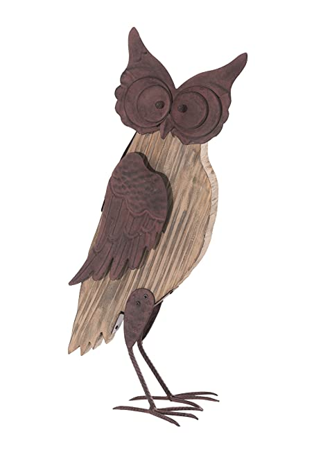Beau Sunjoy Barn Wood Rustic Owl Wood And Metal Garden Sculpture, Brown