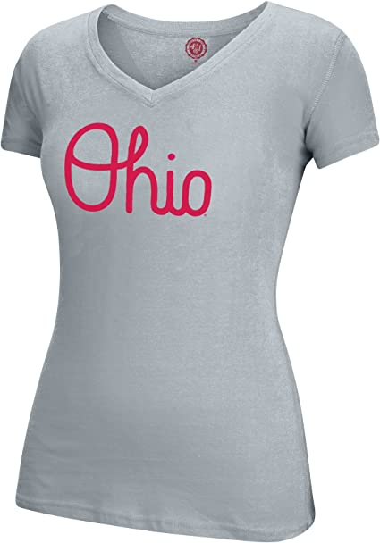 Red J America NCAA Ohio State Buckeyes Womens Band Script Essential Tee 2X