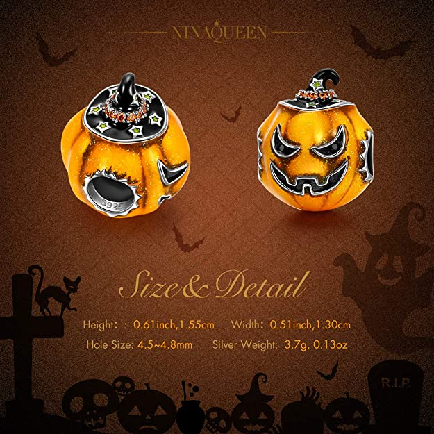 6c341742c NINAQUEEN Halloween Pumpkin Women Bead Charm 925 Sterling Silver fit for Charm  Bracelet with Yellow Enamal Jewellery for Birthday Anniversary Mother Wife  ...