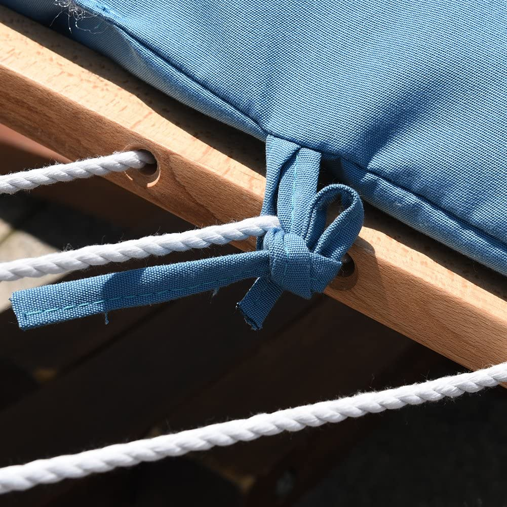 LazyDaze 12 ft Wood Arc Hammock Stand with 2 Person Hammock - Green and Blue - 450 lb Weight Capacity