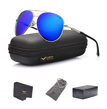 156c93a1c LUENX Sunglasses Aviator Polarized Men Women with Case - UV 400 Dark Blue  Lens Metal Silver