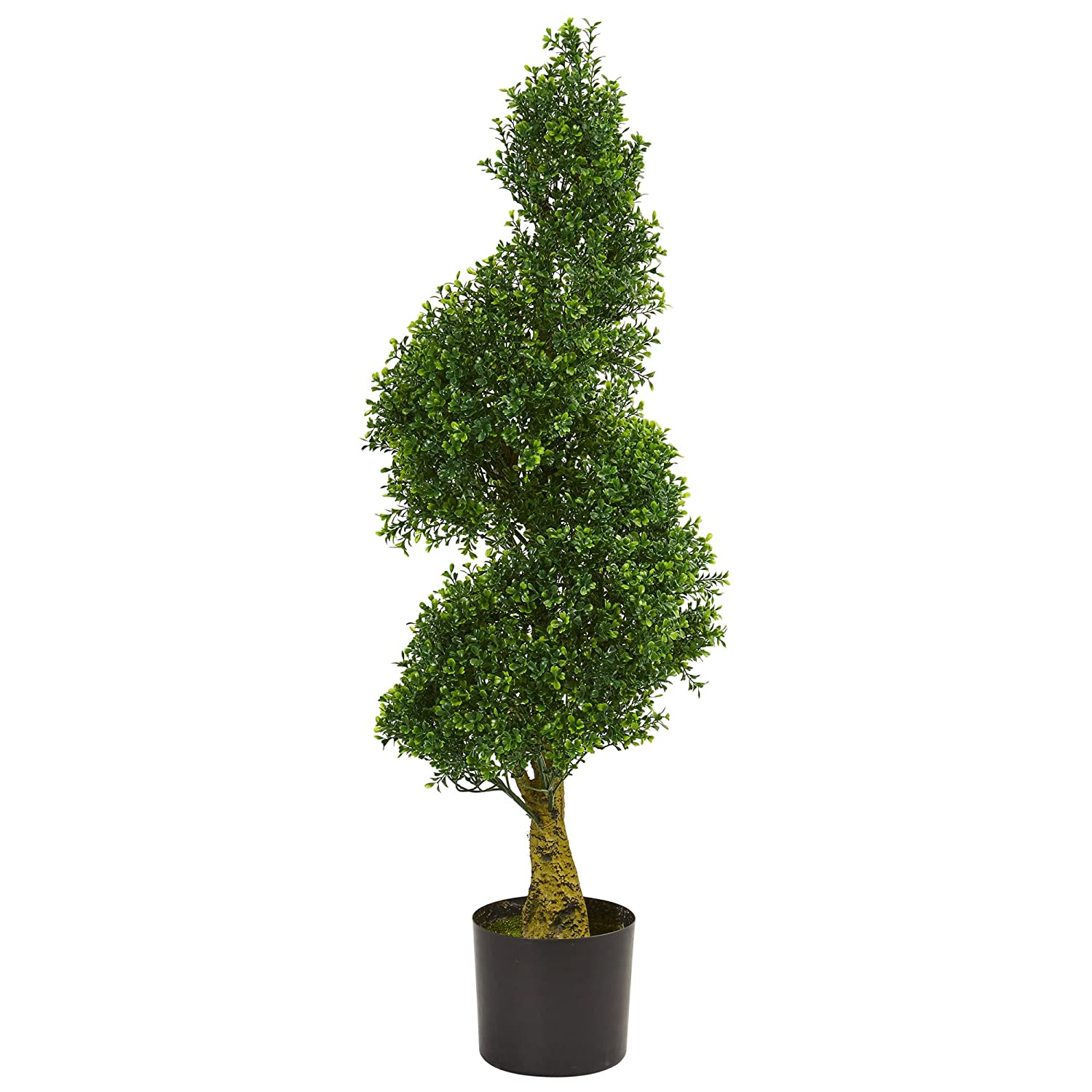 Nearly Natural 5517 4' Spiral Boxwood Artificial Tree UV Resistant (Indoor/Outdoor) 4 Green
