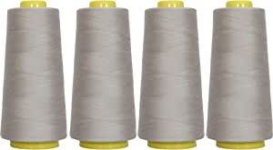 Threadart Polyester Serger Thread - 2750 yds 40/2 - Grey - 56 Colors Available - 4 Cone Bundle Pack