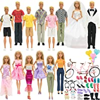 SOTOGO 61 Pieces Doll Clothes and Accessories for Barbie Ken Dolls Lovers Life Playset Include 14 Set Handmade Doll…