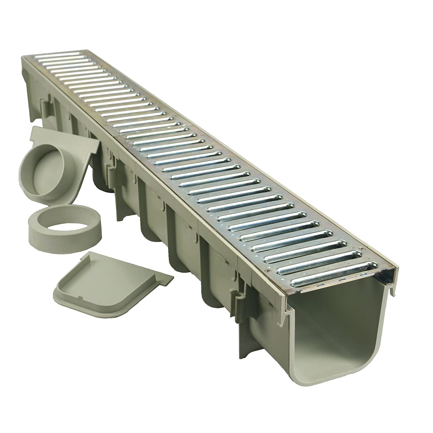 """NDS 864GMTL 5"""" Pro Channel Drain Kit with Metal Grate"""