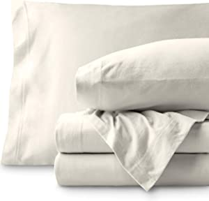 Bare Home Jersey Sheet Set, Ultra Soft, 100% Cotton - Breathable - Deep Pocket (Twin, Ivory)