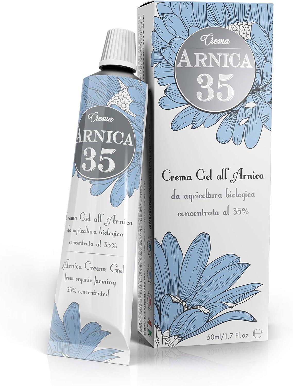 Arnica 35 - Gel crema a base de árnica concentrada al 35% - ELIMINA HEMATOMAS - REDUCE HINCHAZÓN, DOLORES MUSCULARES Y ARTICULARES - formato 50ml