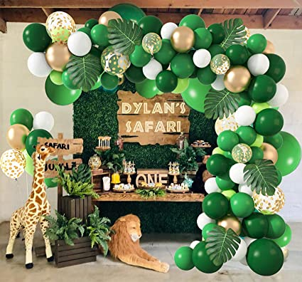 Wild One Birthday 2021 Graduation Party Balloons Jungle and Dinosaur Party Supplies Jungle Themed Party Balloons Garland Arch Dinosaur Party Supplies Green And Gold Balloons For Happy Birthday Party Baby Shower