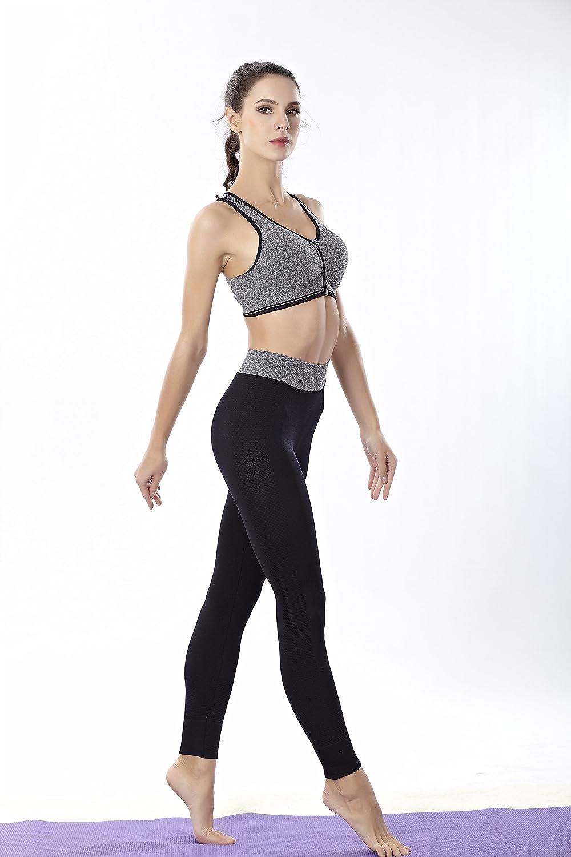 Front Closure Racerback Shockproof Running Yoga Bras #7189 Teetox Womens Zip Sports Bras