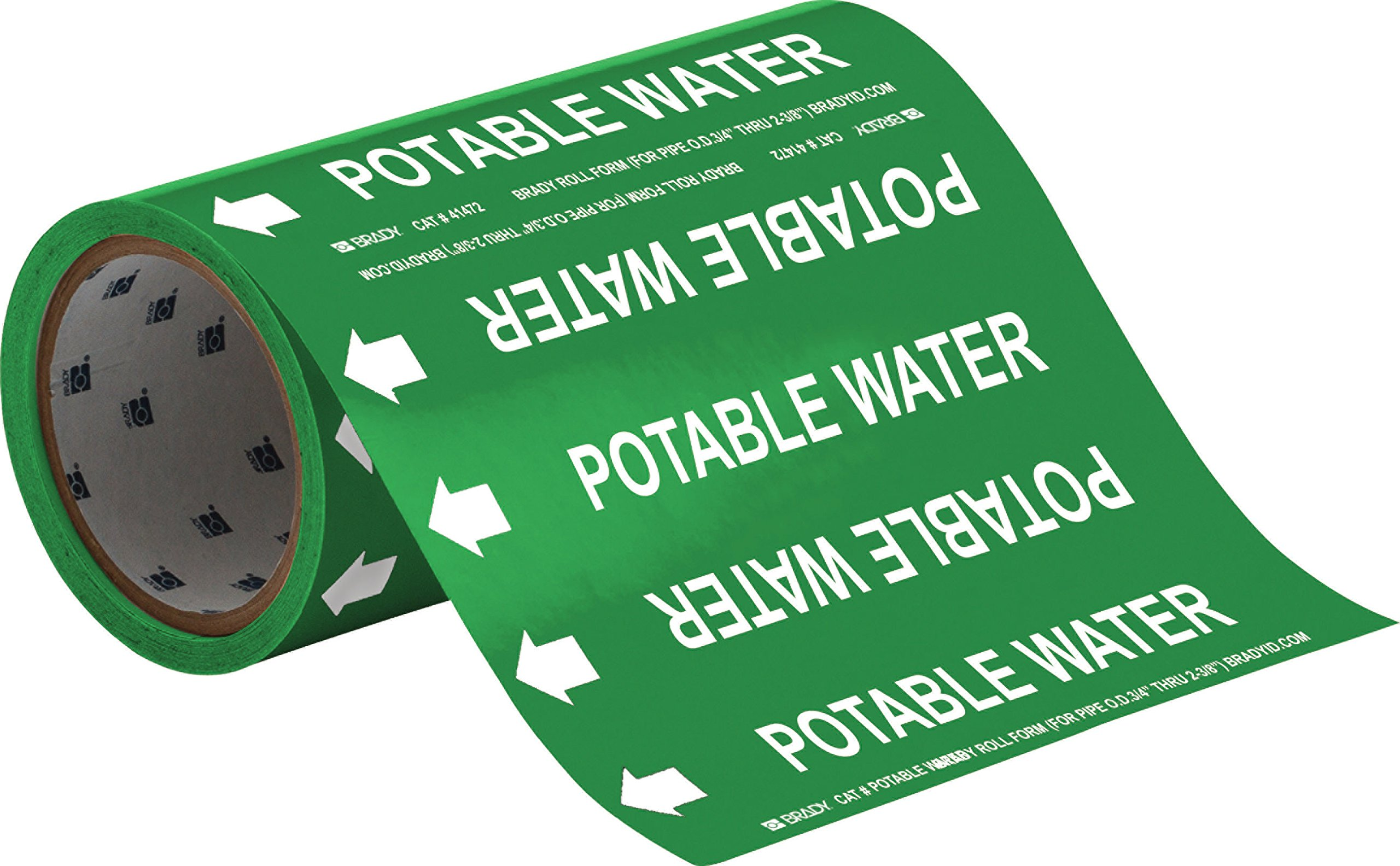 Brady 41472 Roll Form Pipe Markers, B-946, 8'' X 30', White On Green Pressure Sensitive Vinyl, Legend ''Potable Water''