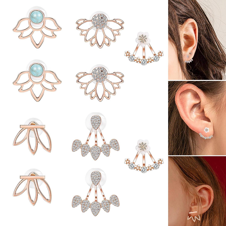 Thunaraz 5Pairs jacket Lotus Flower Bar Stud Earrings for Women Girls Crystal Ear Chic Cuff Earrings B07GYJ1KKF_US