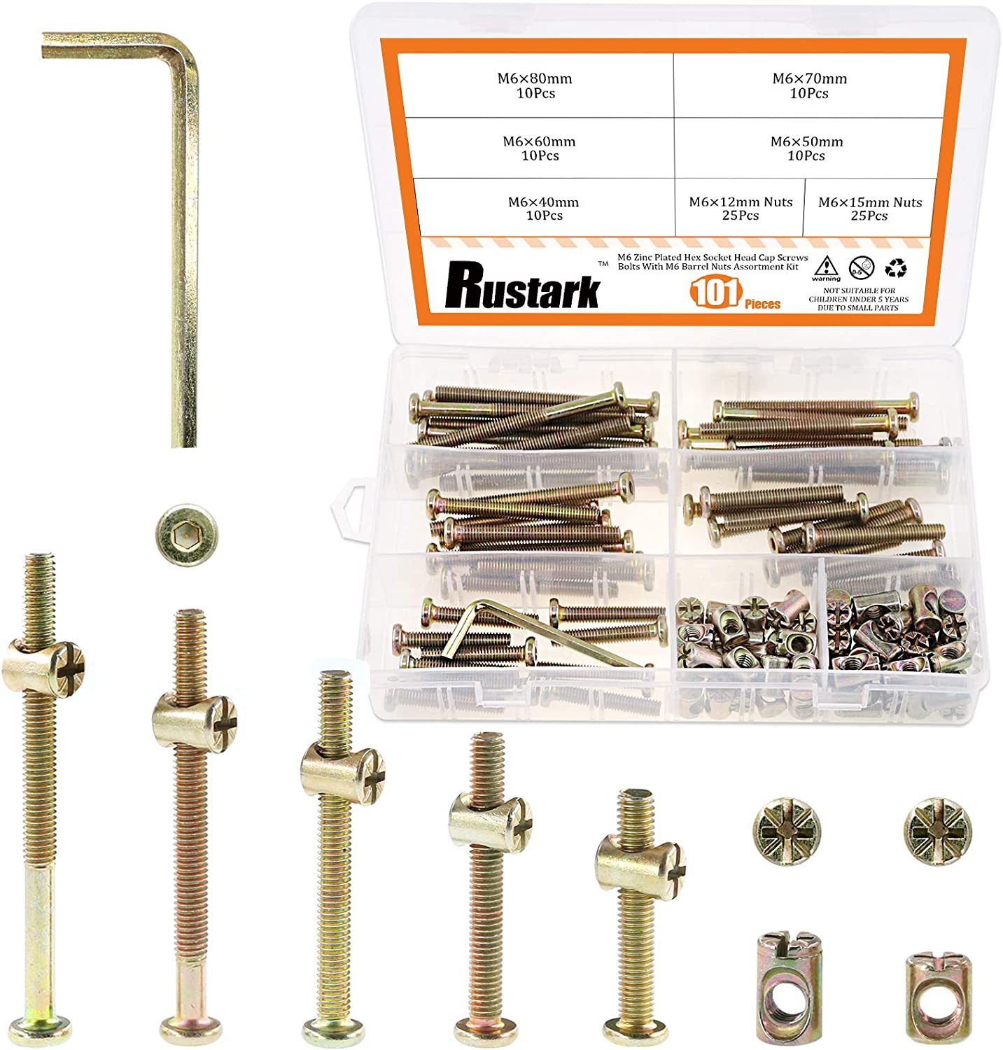 Rustark 100Pcs M6x40/50/60/70/80mm Zinc Plated Hex Drive Socket Head Cap Screws Nuts Furniture Bolts with Barrel Nuts Assortment Kit for Furniture Cots Beds Crib and Chairs
