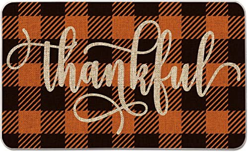Artoid Mode Buffalo Plaid Thankful Decorative Doormat, Seasonal Fall Harvest Vintage Thanksgiving Rustic Yard Low-Profile Floor Mat Switch Mat for Indoor Outdoor 17 x 29 Inch