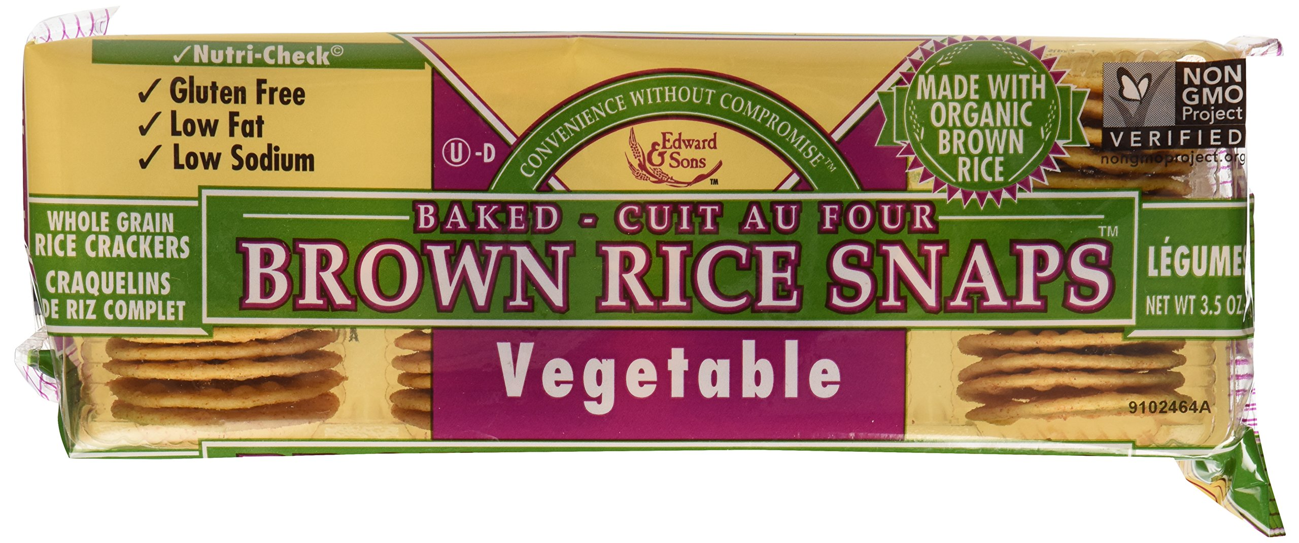 Edward & Sons Brown Rice Snaps Vegetable -- 3.5 oz