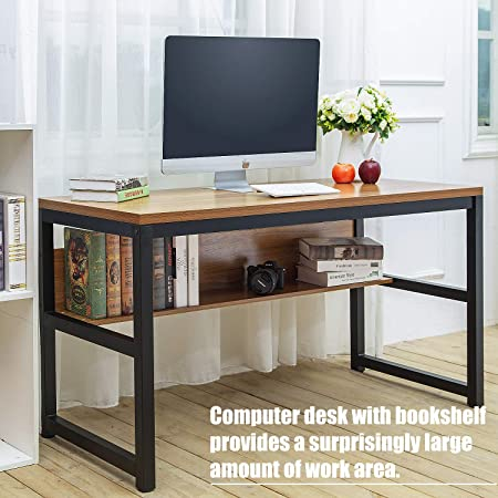 TOPSKY 55 Computer Desk with Bookshelf Metal Desk Grommet Hole Wire Cover Oak_Brown Black Frame