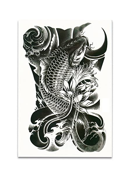 Amazon Com Black Koi Carp Fish Temporary Tattoo Stickers
