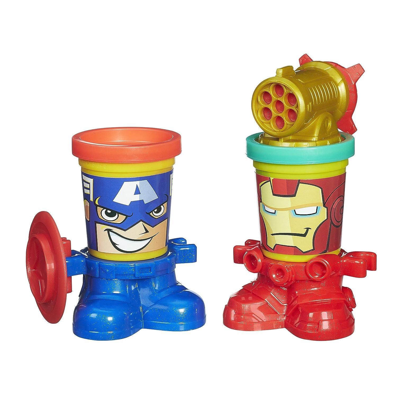 2 Pots Accessoires Play-Doh Captain America et Iron Man Marvel Can-Heads