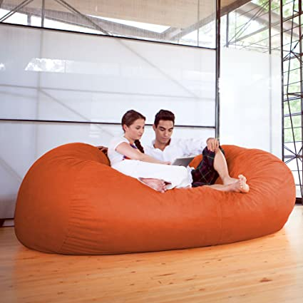 Jaxx 7 Ft Giant Bean Bag Sofa, Mandarin