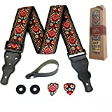 Guitar Strap Embroidered Red Vintage Woven W/FREE BONUS- 2 Picks + Strap Locks + Strap Button. For Bass, Electric…