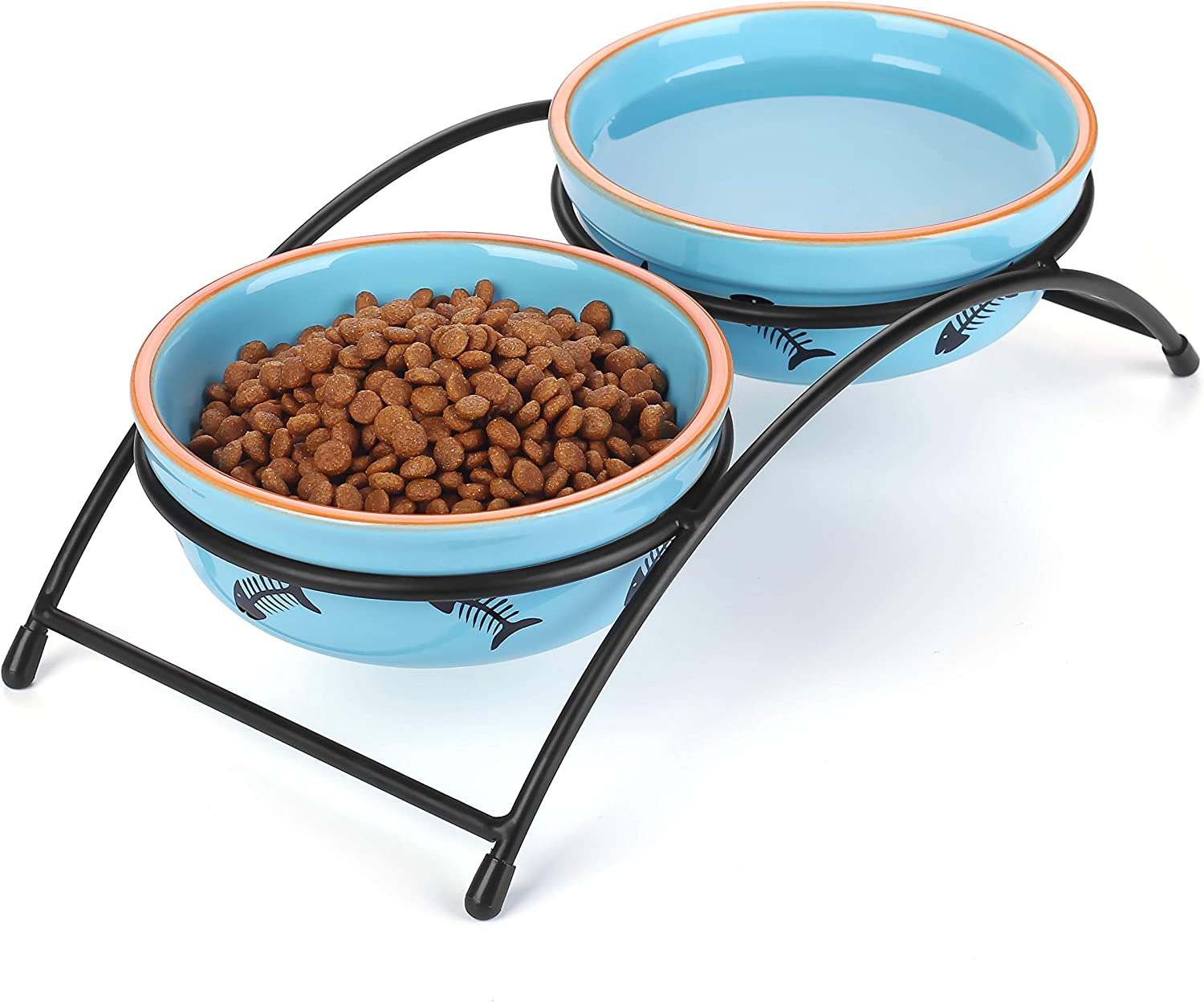Y YHY Cat Food Dish, Raised Cat Bowls Ceramic, Elevated Cat Bowls for Food and Water, Pet Bowls for Cats and Dogs, Anti Vomiting, Whisker Fatigue, Dishwasher Safe, 12 Ounces