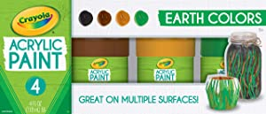 Crayola Paint Set in Earth Tones, Multi-Surface Craft Paints, Painting Supplies, 4ct