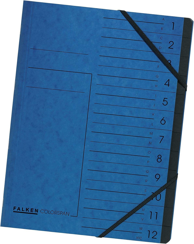 PAGNA Ordnungsmappe EASY DIN A4 blau 12 Fächer Karton Fächermappe Eckspanner