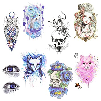 491dc13f9 [8 Sheets] Large Temporary Tattoo Stickers 8 Sheets for Women Girl(Blue Cat