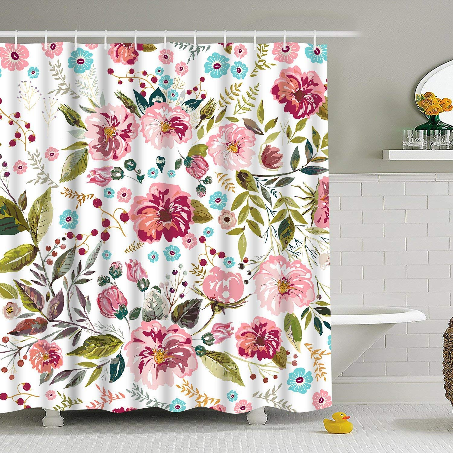 "BLEUM CADE Modern timesm Bathroom Shower Curtain Flower Bathroom Curtain Durable Bath Curtain Bathroom Accessories Ideas Kitchen Window Curtain with 12 Hooks (Multicolor, 84"" L × 69"" W)"