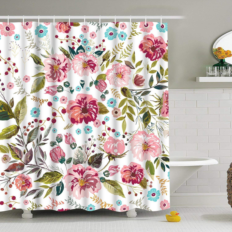 BLEUM CADE Modern timesm Bathroom Shower Curtain Flower Bathroom Curtain Durable Bath Curtain Bathroom Accessories Ideas Kitchen Window Curtain with 12 Hooks (Multicolor, 84'' L × 69'' W)