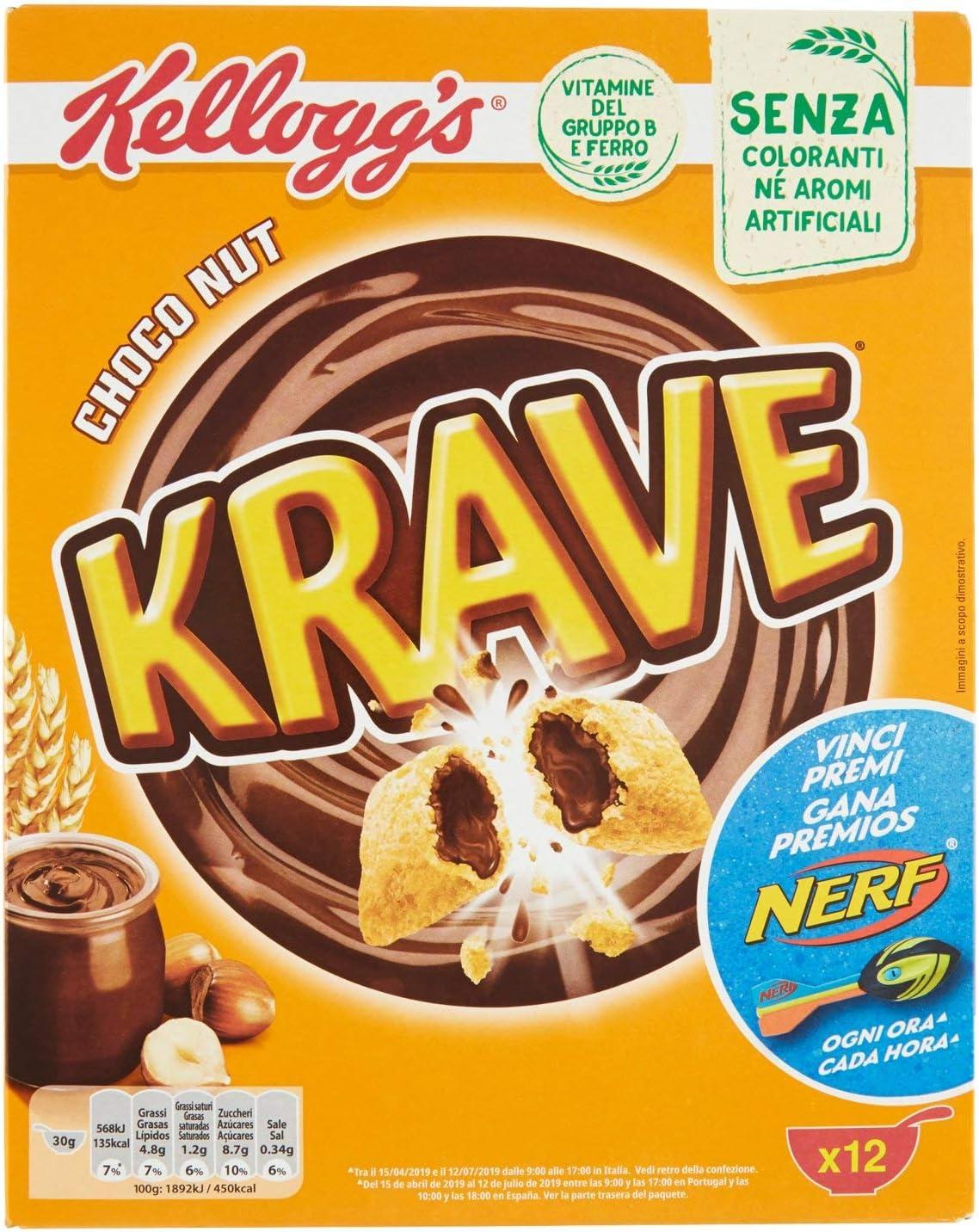 Kellogg's Krave Cereali al Cioccolato, Vitamine B, Ferro - 375 gr