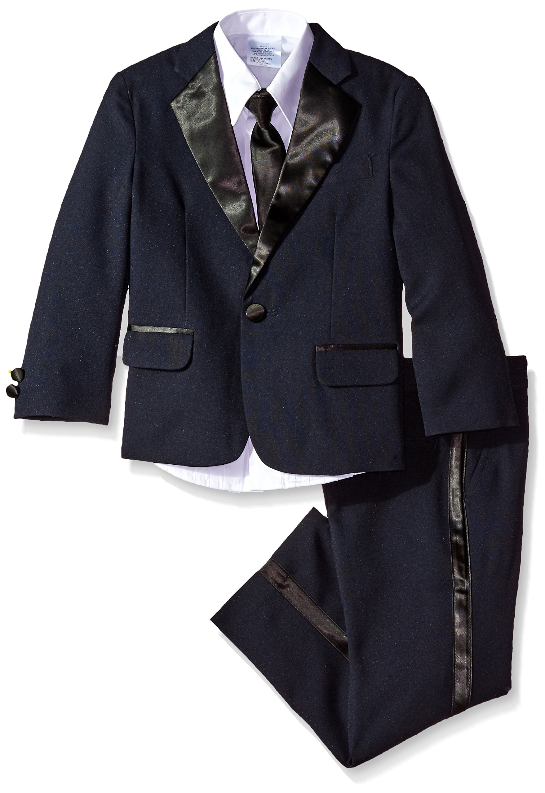 Nautica Boy's Little Tuxedo Set with Jacket, Pant, Shirt, and Bow Tie, Navy, 5