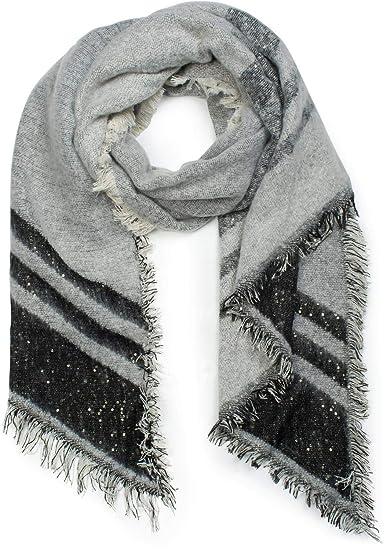 styleBREAKER Châle douillet en tissu pour femme avec des rayures, des  paillettes et des franges 831346a54d1