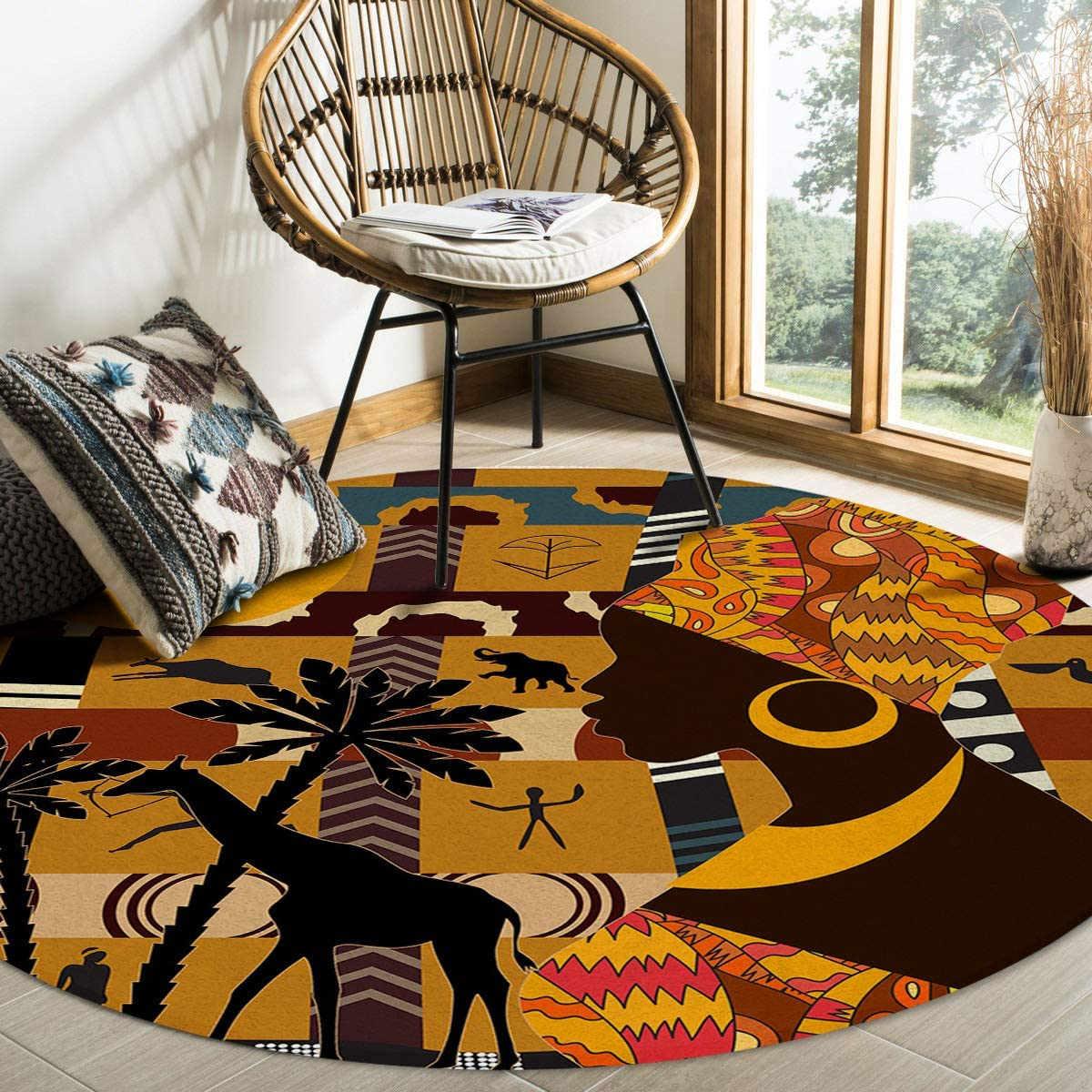 Large Area Rug for Living Room- African Women Rlephant Giraffe Silhouette Soft Comfort Carpet Home Decorate Contemporary Runner Rugs, 3.3' Diameter