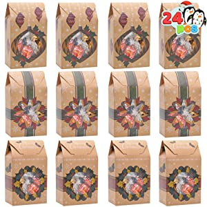 24 Foiled Kraft Christmas Cookie Treat Boxes Bulk for Pastries, Cupcakes, Brownies, Gift-Giving, Doughnut and Cookie, Brown Kraft Bakery Boxes