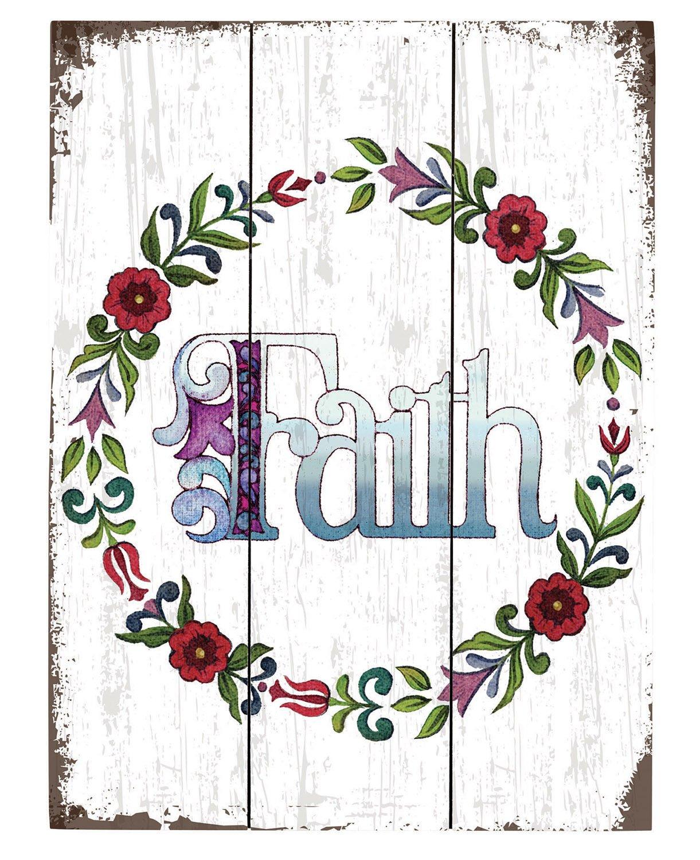 Faithworks Jim Shore Wood Pallet Sign Faith 12 x 16