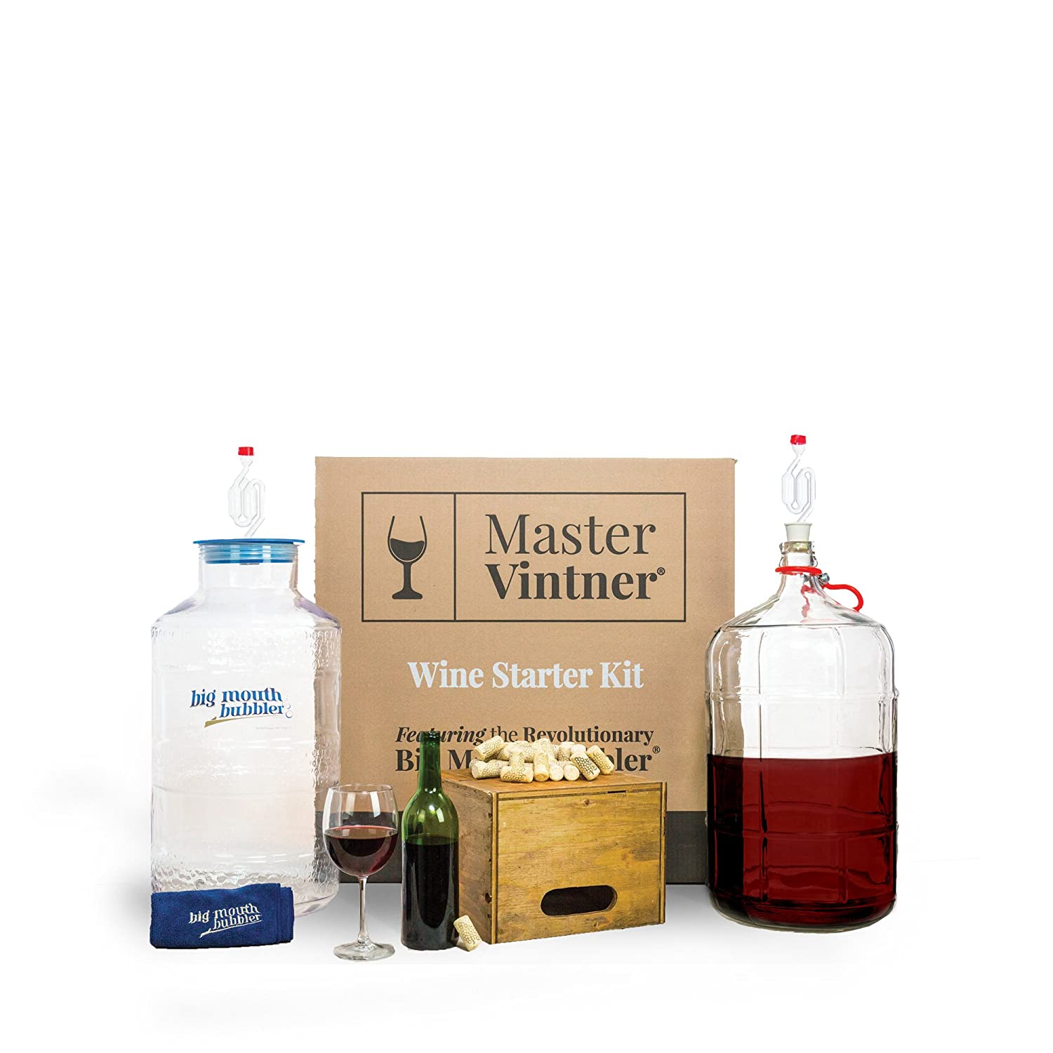 Home wine making and beer brewing recipes quality wine - Amazon Com Master Vintner Home Wine Making Equipment Starter Kit With Plastic Big Mouth Bubbler And Glass Carboy Fermentors For 6 Gallon Wine Recipe Kits