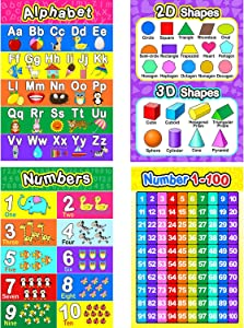 Educational Preschool Poster for Toddler and Kid with Glue Point Dot for Nursery Homeschool Kindergarten Classroom - Teach Numbers Alphabet Colors Days and More 16 x 11 Inch (4 Pieces, Style C)