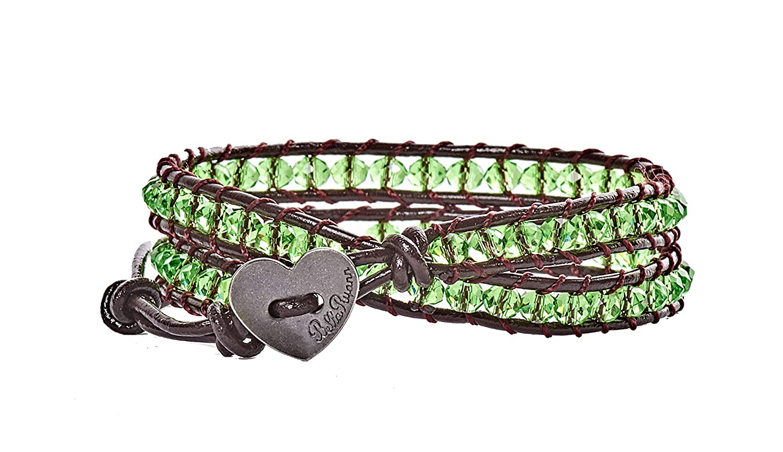 Green Crystal with Dark Brown Leather Double Wrap Bracelet BellaRyann Mary