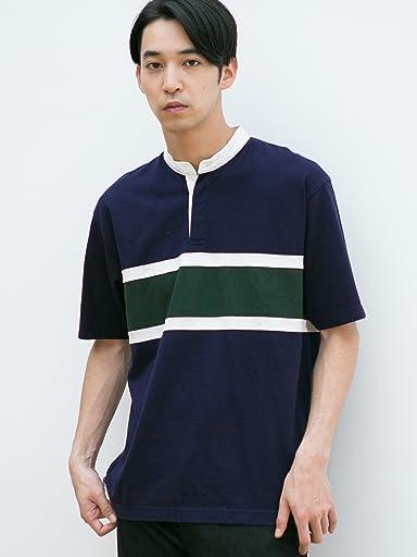 Short Sleeve Stripe Band Collar Rugby Shirt 3217-199-4485: Navy
