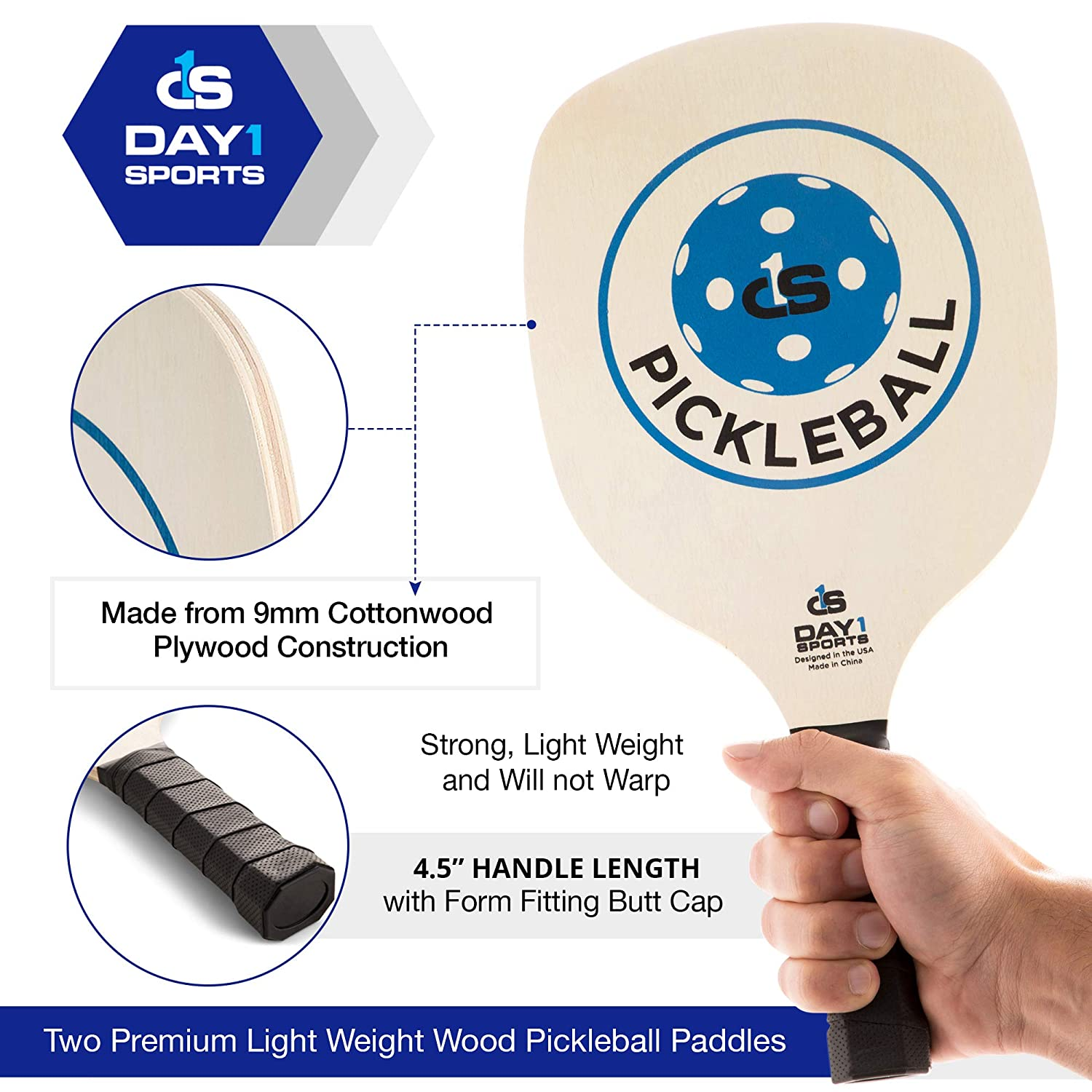 Beginner and Recreational Pickleball Kit with Lightweight Carry Bag 4 Indoor Pickle Balls by Day 1 Sports Pickleball Paddle Starter Set in RED or Blue: 2 Paddles Wooden Rackets and Accessories