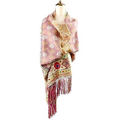 Écharpe 100% laine pure pour femmes, écharpe jacquard réversible cachemire  en soie avec pompon 716631be982
