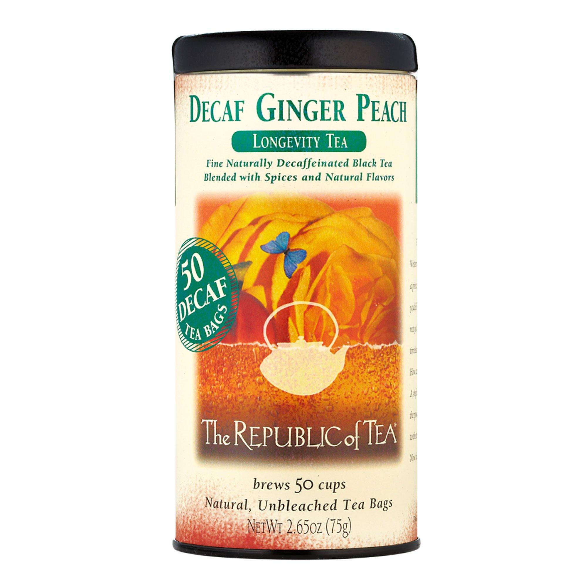 The Republic Of Tea Decaf Ginger Peach Black Tea, 50 Tea Bags, Longevity Blend Of Ginger And Peach Tea by The Republic of Tea (Image #1)