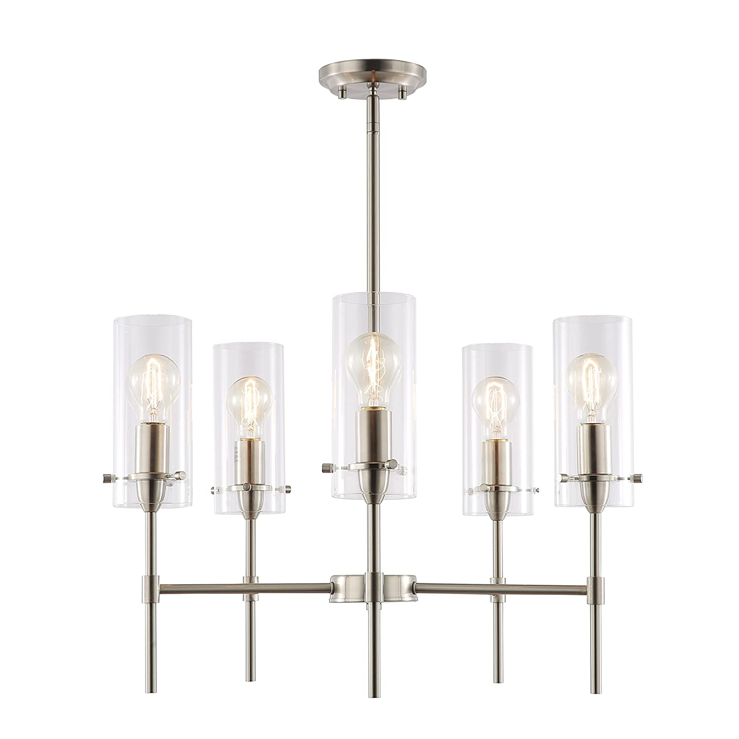 Light society montreal cylindrical 5 light chandelier pendant satin nickel with clear glass shades contemporary modern lighting fixture ls c239 sn cl