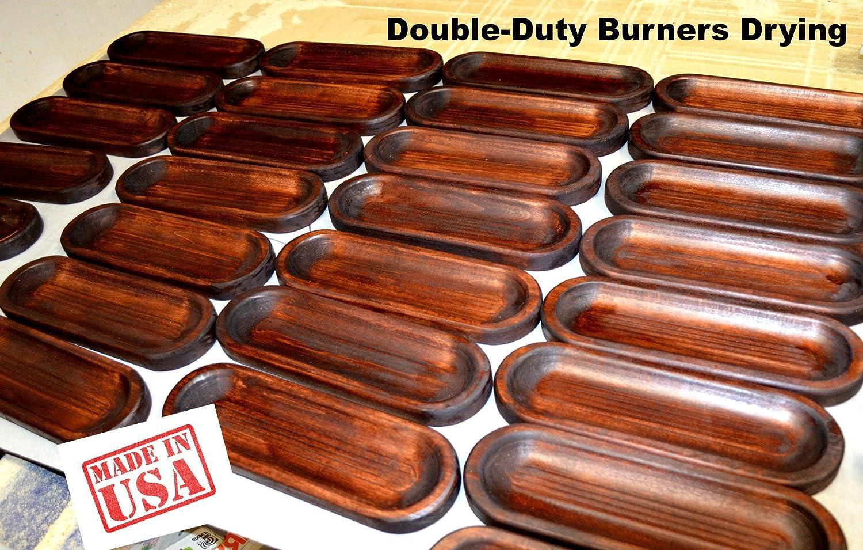 LARGE INCENSE BURNER & INCENSE STICKS GIFT SET - Hand Made, Solid Wood, Trough Holder Catches ALL the Ashes, 20 Incense Sticks Sensari Trough Incense Burner