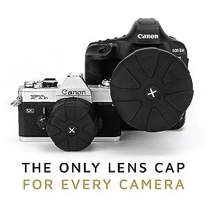 KUVRD Universal Lens Cap 2.0 - Fits 99% DSLR Lenses, Element Proof, Lifetime Coverage, Micro, Single Lens Cap (Tamaño: Single Lens Cap)
