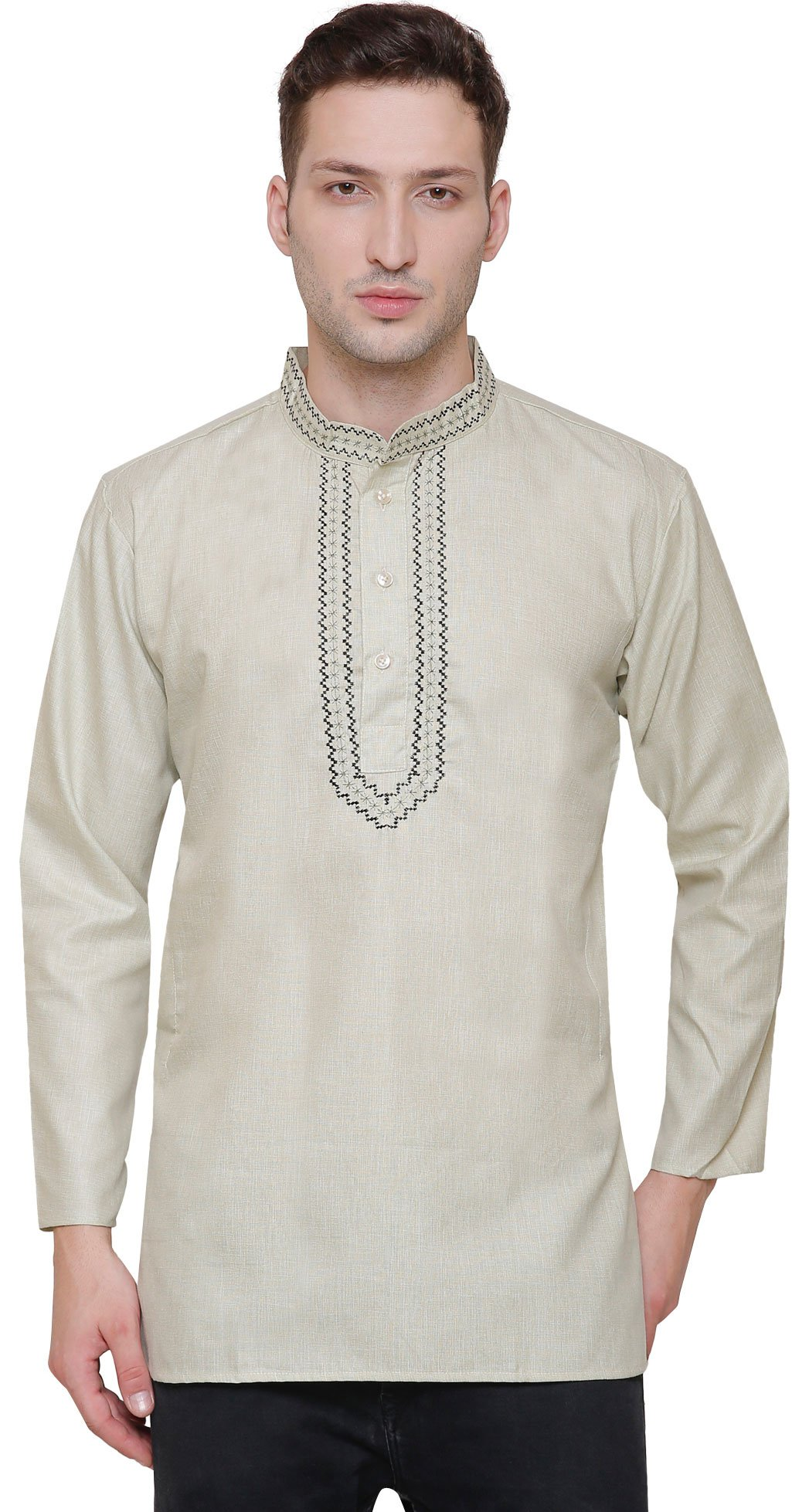 Cotton Men's Short Kurta Fashion Indian Clothing (Light Green, L)