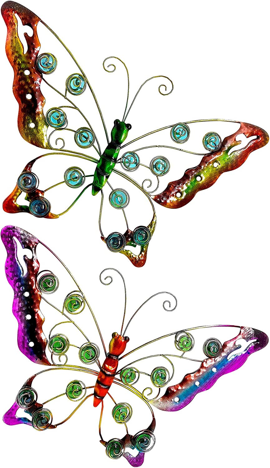 OSW Metal Butterfly Wall Art, Sculptured Outdoor Decor for Patio or Fence, Set of 2