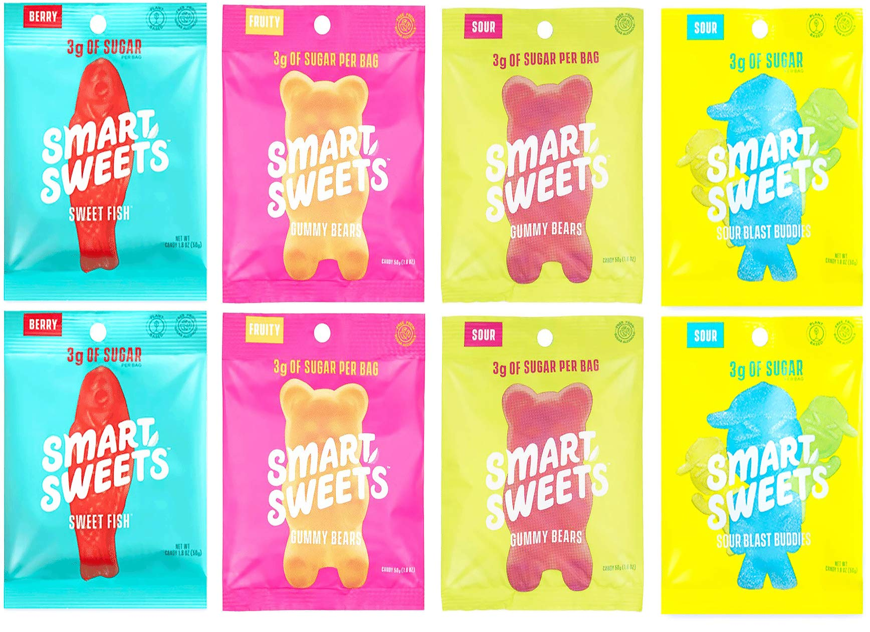 Peaceful Squirrel Variety, SmartSweets, Gummy Candy Variety of 8 (2x Sweet Fish, 2x Sour Blast Buddies, 2x Fruity Gummy Bears, 2x Sour Gummy Bears) Free of Sugar Alcohols and No Artificial Sweeteners