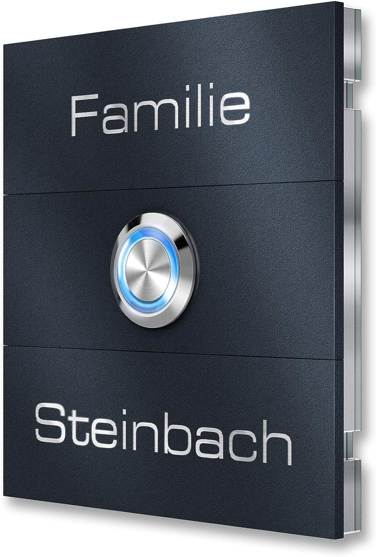 /Anthracite RAL7016 Metzler-Trade/® Haute Qualit/é en Acier Inoxydable Plaque de sonnette/ /magn/étiques interchangeables LED lumineux bouton poussoir inclus/