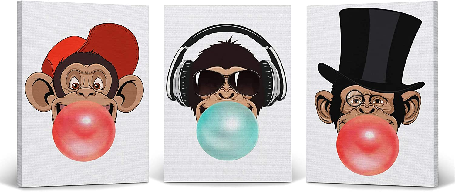 Smile Art Design Funny Three Monkeys Animal Bubble Gum Art 3 Panel Canvas Print Set Red Blue Gum Black and White Wall Art Nursery Decor Baby Room Boy Girl Kids Room - Ready to Hang Made in USA- 12x8